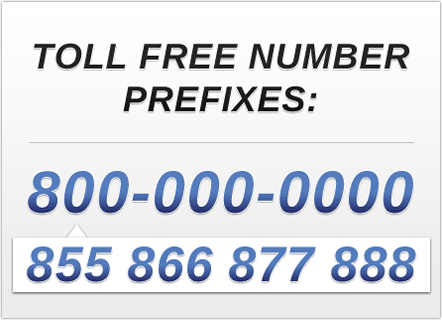 The area codes or prefixes , , , , , and are used by toll free numbers in the United States, Canada and all the countries covered by the North American Numbering Plan. A toll free number is a telephone number people can call free of charge (the owner of the toll free .